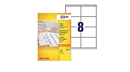 AVERY 800 etichette per fotocopiatrici, in bianco e nero, 105 x 70 mm
