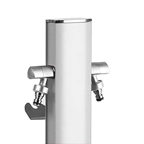 S&M Totem Gartenwassersäule mit Halterung für 2 AQUAPOINT-Wasserhähne, weiß