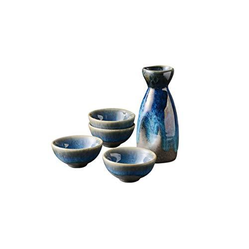 Maya Star - Juego de tazas de sake japonés, diseño tradicional, diseño de oro, porcelana, cerámica, cerámica, copas de vino A19