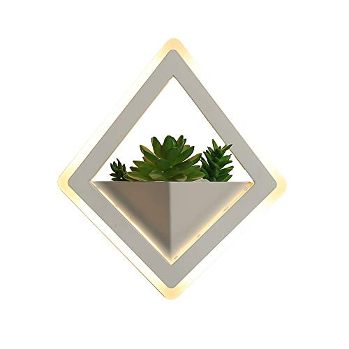 ZCCLCH Lámpara de Pared Decorativa de la mesilla de Diamante LED,lámpara de Pared de iluminación de Dormitorio de acrílico Moderna y Simple con Plantas Verdes,luz cálida/Blanca Opcional,diámetro 22 c