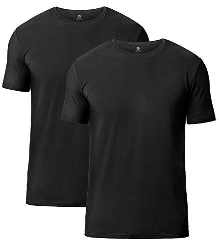 LAPASA 2 Camisetas de Hombres Manga Corta de Austria Lenzing Micromodal® (Origen Natural) (Negro (Cuello Redondo), M (Largo 71, H-H 41,9, Pecho 96-102 cm))