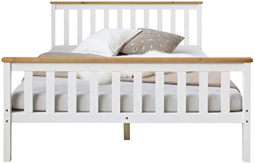 Holzbett 140x200 cm weiß, Doppelbett mit Lattenrost, Kiefer Massivholz