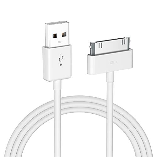 EnergyCell Cable de Datos 30-Pin USB Carga Compatible con iPhone 4, iPad 1/2/3 y iPod Carga Rápida, Ligero y Portátil-Blanco