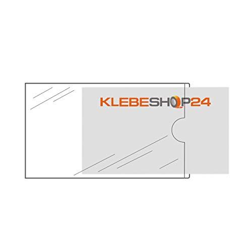 Visitenkartentaschen selbstklebend | Transparent | 20 oder 100 Stück | 95 x 60 mm, schmale Seite offen | Visitenkartenhüllen zum Einkleben | Kartenhüllen zum Kleben / 20 Stück