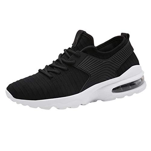 Anglewolf Herren Laufschuhe Weiche Turnschuhe Atmungsaktiv Sportschuhe Laufschuhe Outdoor Schuhe Sneaker Sommer Flache Schuhe Sneakers Leichte Schuhe(Schwarz 2,41 EU)