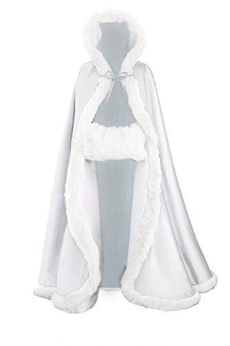 Wedding Cape Hooded Cloak for Bride Winter Reversible with Fur Trim Free Hand Muff Full Length 55''