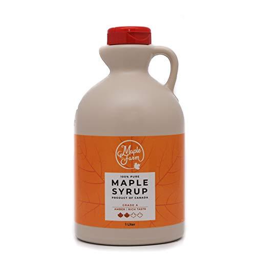 Jarabe de arce Grado A (Amber, Rich taste) - 1 litro (1,35 Kg) - Miel de arce - Sirope de Arce - Original maple syrup