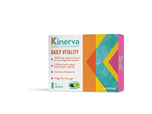 Kinerva Daily Vitality Live Bio Culture Supplements For Women & Men; Gut Health Multi Strain With Prebiotic - 10 Day Supply of 10 Max Adult Strength Friendly Bacteria Vegetarian Capsules (not Tablets)