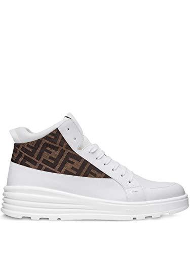 FENDI Luxury Fashion Herren 7E1315A9SAF150F Weiss Leder Hi Top Sneakers | Frühling Sommer 20