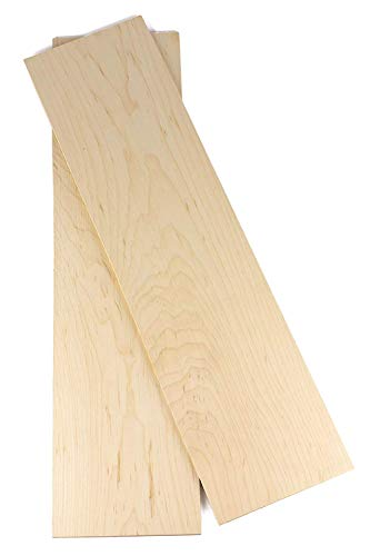"Wood-Hawk Hard Maple Thin Wood Lumber 2 Pack - 1/4""x4""x24"" or 16"" or 36"" You Choose (2 Hard Maple 1/4""x4""x24"")"