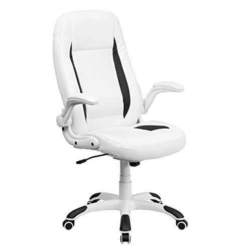 Flash Furniture High Back White LeatherSoft Executive Swivel Ergonomic Office Chair with Flip-Up Arms, BIFMA Certified