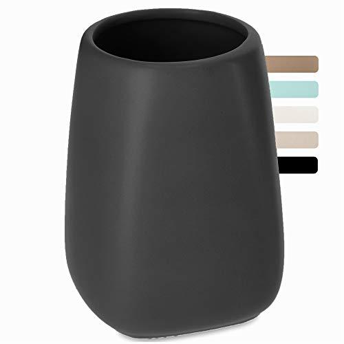 KADAX Badezimmerbecher, Zahnputzbecher aus Keramik, Badezimmer Cup, Zahnbürstenhalter für Bad, Zahnbürste, Zahnpasta, Aufbewahrung, Wasser Cup, mattiert, Becher (Anthrazit)