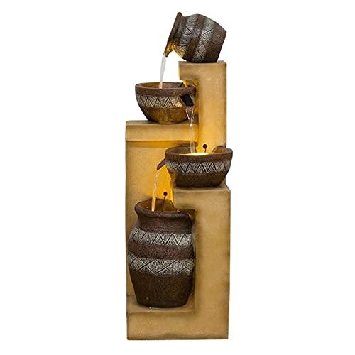 LSSAZ Mesa Decorativa Cascada Gran Escala Fuente Cascada Paisaje Feng Shui Bola Circulación Automática Fuente de Agua Paisaje Decoración Piso-De Pie Fuente Decoración Hogar