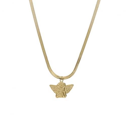 Collar Colgante Conjuntos de Joyas de Acero Inoxidable Vintage para Pareja Collares con Colgante de ángel Plateado para Mujeres y Hombres Gargantilla de Cadena a Juego Collar Amistad Regalo