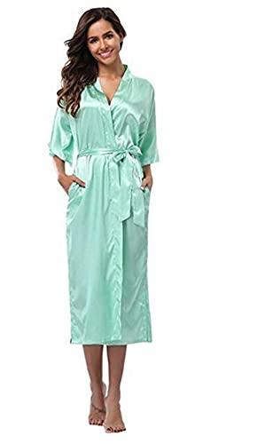 IAMZHL Bata de Dama de Honor Larga de satén de Seda para Mujer, Bata de Kimono, Bata de baño Femenina, Bata de baño de Talla Grande XXXL, Bata Sexy para Mujer-Green-5-4XL