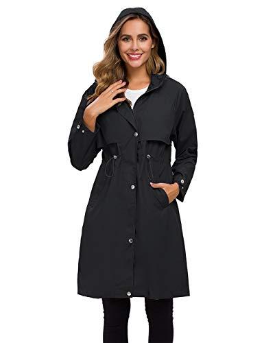 Avoogue Rain Jackets Womens Waterproof Long Raincoat Ladies Lightweight Hooded Rain Coat Outdoor Hiking Windbreaker Black