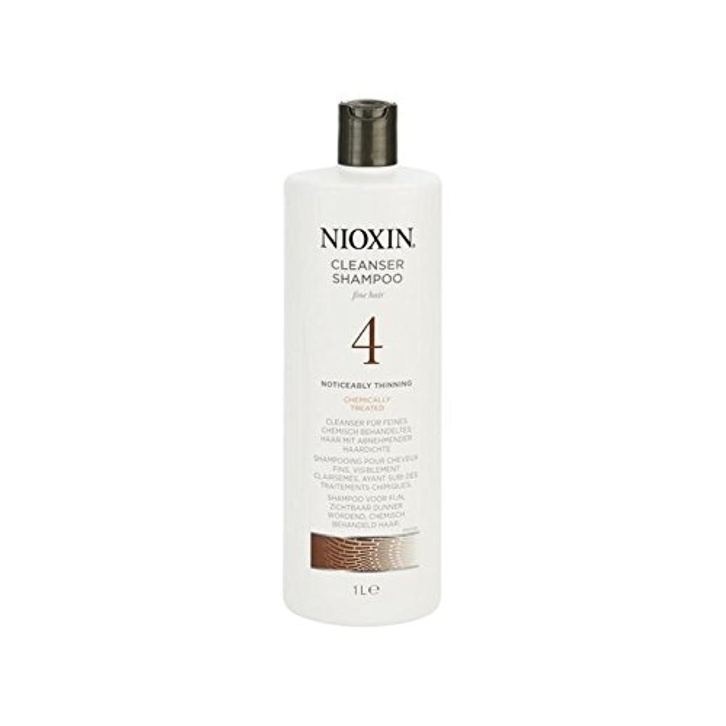 固有の中世の劇的罰金、著しく間伐、化学的に処理した毛髪の千ミリリットルのためのニオキシンシステム4クレンザーシャンプー x4 - Nioxin System 4 Cleanser Shampoo For Fine, Noticeably Thinning, Chemically Treated Hair 1000ml (Pack of 4) [並行輸入品]