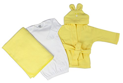 Bambini Neutral Newborn Baby 3 Pc Layette Set (Gown, Robe, Fleece Blanket) - Newborn