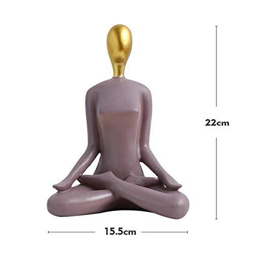 MFWallMirror Sculptuur abstract yoga-karakterbeeld-meisjes-kunsthars maakt TV-kast de gevoerde meubels handwerk, grijs