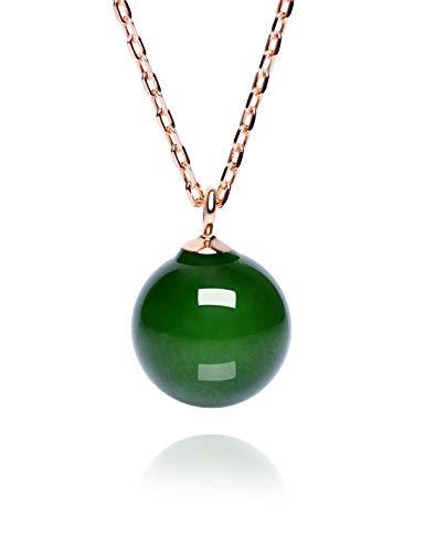 Dalwa Kette 14 Karat 585 Gold Vergoldete Halskette aus 925 Silber mit Naturstein Jade Perle-Anhänger Grüner Stein Schmuck verstellbar inkl. Geschenkverpackung