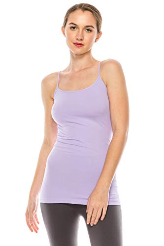 Kurve Women's Camisole Tank Top - Basic Seamless Stretch Spaghetti Strap Cami Tops UV Protective Fabric Rated UPF 50+ (Made in USA) Lilac, Large/X-Large