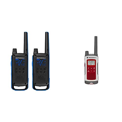 Motorola Talkabout T800 Two-Way Radios, 2 Pack, Black/Blue Bundle with Motorola Solutions T480 Talkabout Rechargeable Emergency Preparedness Two-Way Radio Single Unit (Red/White)