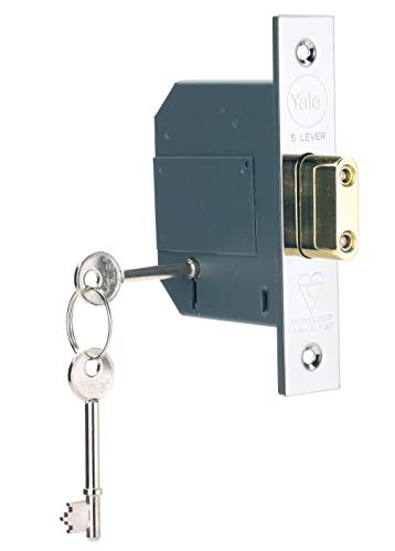 Yale B-BSDL-2.5-CH British Standard 5 Lever Mortice Deadlock, Boxed, Suitable for External Doors,...