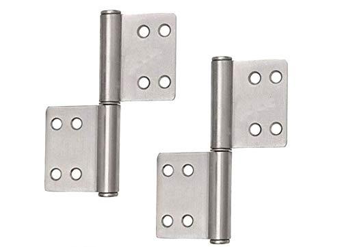 4x Scharnier Edelstahl klappbar, ideal für Innen- & Außenbereich - Stabile Türscharniere für Metall- & Holztüren (100 x 70 x 10 mm)