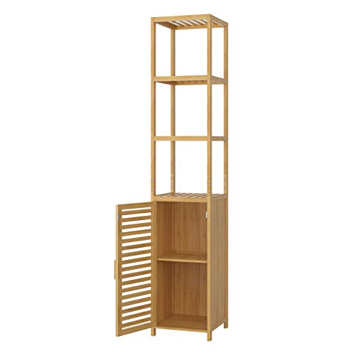 Estantería Bambú Baño Armario Alto para Cocina Salón Estantería Almacenaje Unidad de Almacenamiento Angosta con 3 Estantes 1 Puerta 33x33x169cm