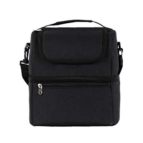 JRXyDfxn Lunch Bag Oxford Isolierte Bento Tasche Leakproof Prep Mahlzeit Halter Double Layer Picknick Kühltasche Schwarz