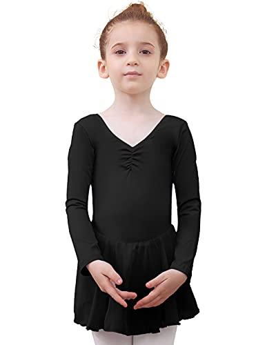 Tancefair Vestido de Ballet para niñas y niños, con Cuello en V, Manga Corta, con Falda de Gasa, Manga Larga Rosa