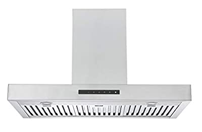 Ancona AN-1520 Moderna with Night Light Wall Mount Range Hood, 36-inch, Stainless Steel
