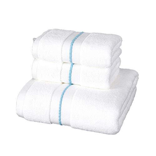 Juego de Toallas de algodón Star Hotel Lujo Toalla de satén Toalla de baño hogar súper Suave Absorbente baño Cara Toalla-White_34X74cm