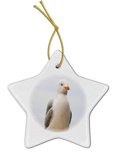 GFGKKGJFD Ornament Seagull Christmas Ornaments Ceramic Star Shape Christmas Tree Decoration Hanging Novelty 3 Inches