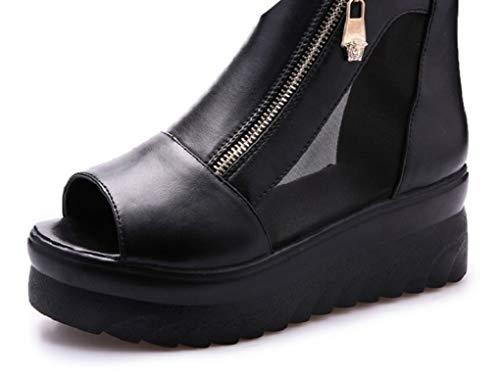 SINXE Sandalias Romanas de tacón Alto para Mujer, cómodas, con cuñas, Zapatos de Plataforma Alta, Negro, 6 M US