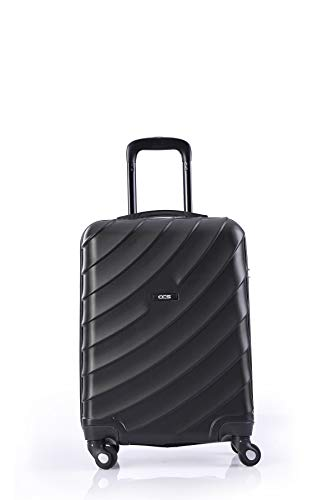 CCS 4 Wheels Suitcase Luggage Trolley Carry On Hand Hard Shell Travel Bag Lightweight (S, Black)
