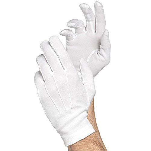 Santa White Cotton Gloves, 1 pair | Christmas Accessory