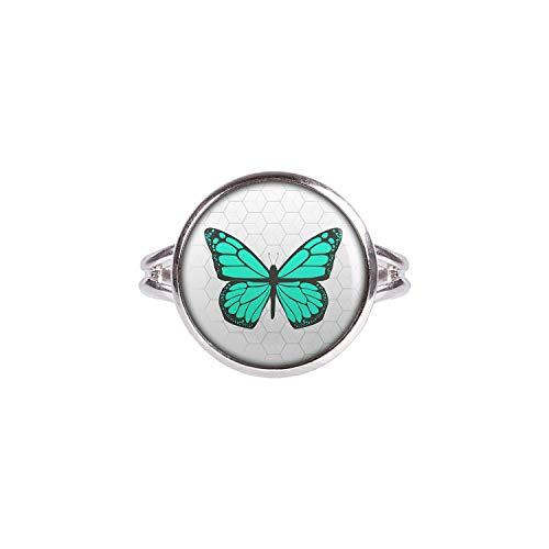 Mylery Ring mit Motiv Schmetterling Opal Türkis silber 14mm