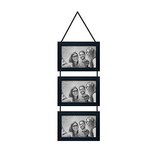 Porta Retratos Trio Com Cordão Para 3 Fotos 10x15cm Kapos Preto