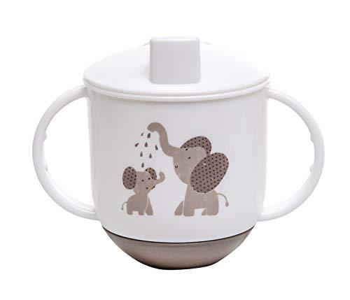 Rotho Babydesign Tazza a biberon, Da 6 mesi, Modern Feeding, Design Modern Elephants, 10,5 x 12cm, Bianco/Grigio, 300240280CG