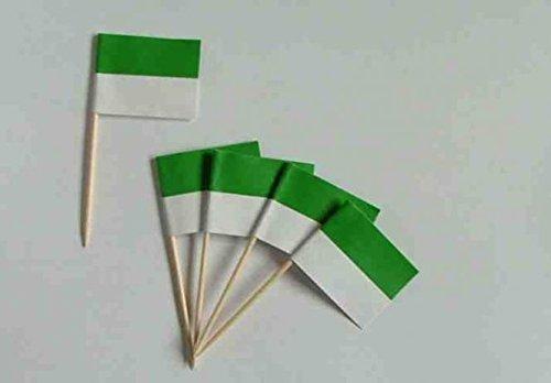 U24 Flaggen Zahnstocher Schützenfest Grün-Weiß Flagge Fahne Minipicker