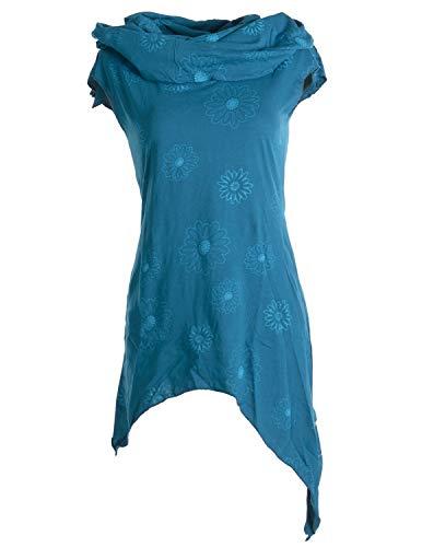 Vishes - Alternative Bekleidung - Bedruckte Tunika aus Baumwolle mit Kragenkapuze türkis 42 (XL)