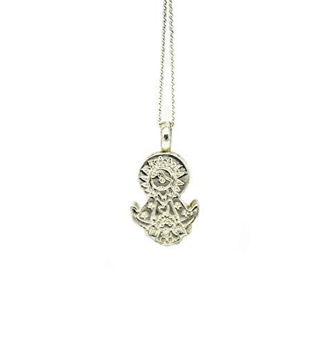 Kokomorocco Medalla Virgen de Guadalupe de Alpaca, Silueta, con Cadena Ajustable Regalos Originales