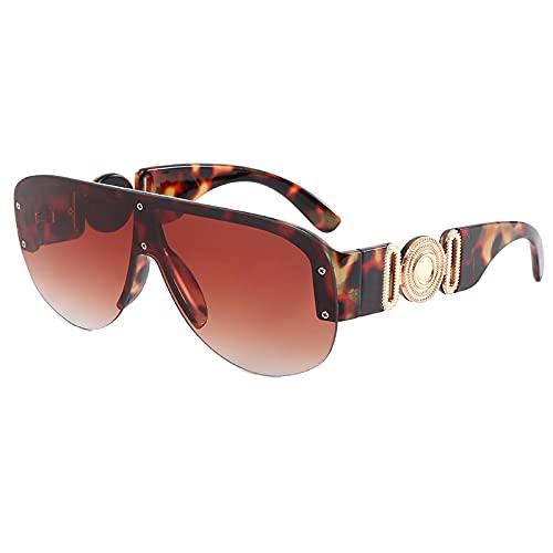 HAOMAO Gafas de sol graduadas con espejo sin montura cuadradas de gran tamaño para mujeres y hombres gafas rectangulares Uv400 grandes sombras de leopardo