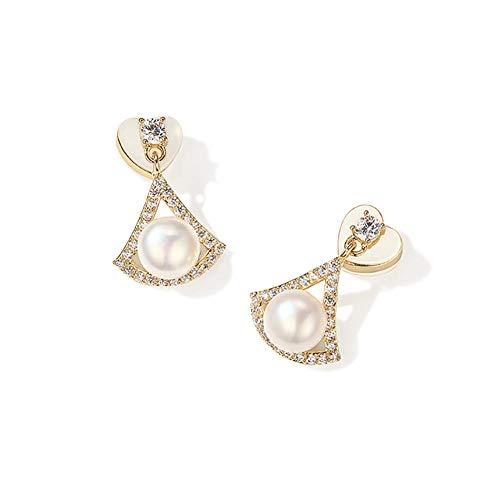 Pendientes de perlas en forma de moda Pendientes hipoalergénicos vintage para mujeres y niñas, pendientes únicos brillantes de circonita cúbica sintética ideales para llevar elegante todo el día