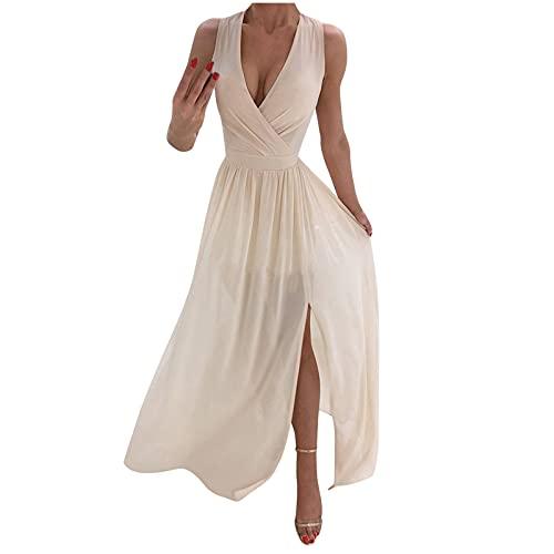 Damen Maxikleider Sexy Cross V-Ausschnitt Kleider Einfarbig Geraffte Seitenschlitz Strand Boho Kleider Elegantes Abendkleid Cocktailkleid (Khaki,L)