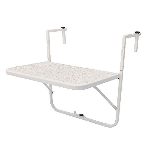 GWM Bureau Pliable – Table Suspendue réglable en Hauteur pour Balcon, Table Suspendue, Pliable, en Fer forgé, 60 x 40 cm Blanc