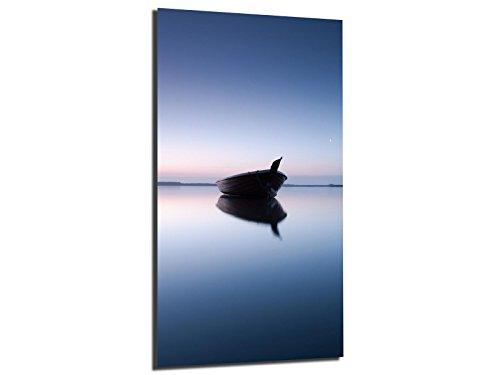 WallArtXXL Alu-Dibond afbeelding ALU100502089 BOOT IN MEER BLAUW 50 x 100 cm, metalen afbeelding, geborsteld oppervlak (Butlerfinish©), INCL. Ophangsysteemset