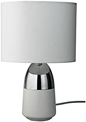 DELEX® Home Duno Touch Table Lamp in White & Chrome with Touch Sensor Switch.