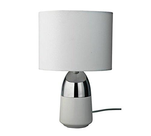 Home Duno - Lámpara de mesa, color blanco y cromado